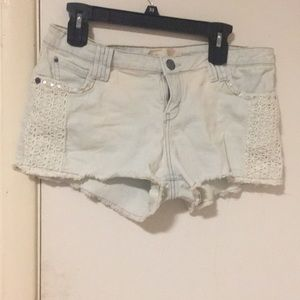 Mini shorts with cute white lace